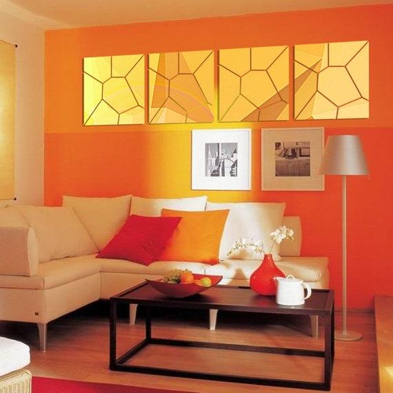 25x100cm motif g om trique acrylique miroir mural d coratif stickers salon mural autocollants. Black Bedroom Furniture Sets. Home Design Ideas