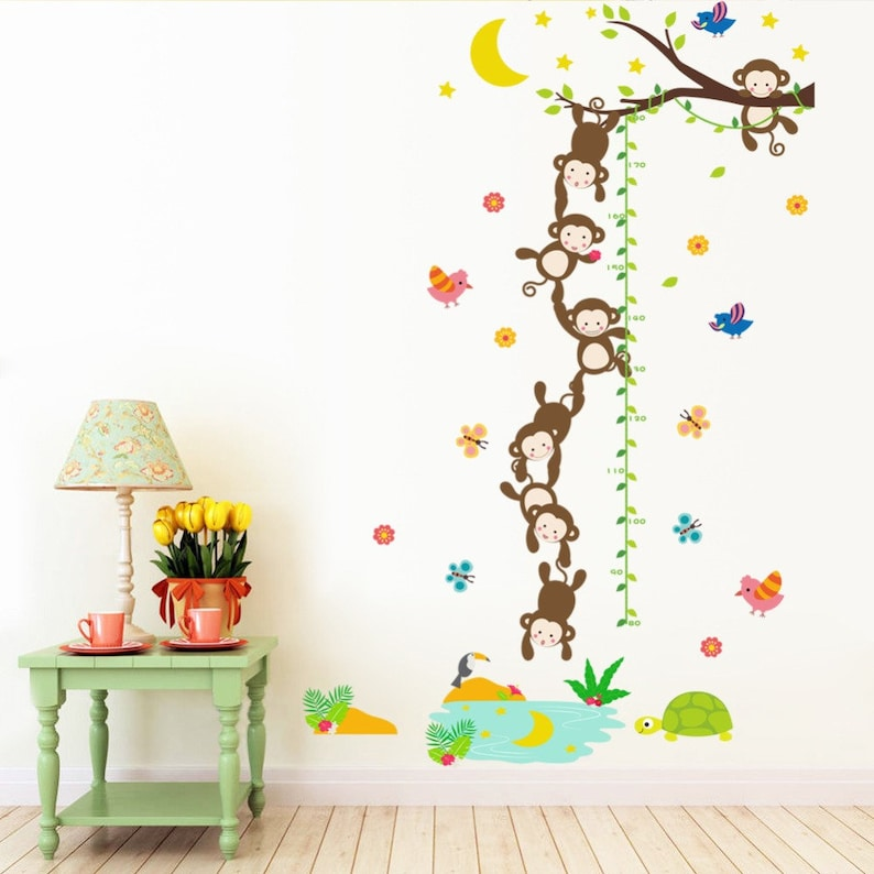Children Hight Monkey Home Room Decor Removable Wall Stickers Decal Decoration