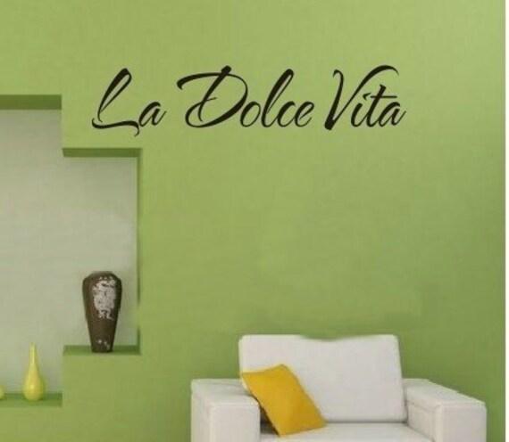 la dolce vita italian quote wall stickers vita lettering kids | etsy