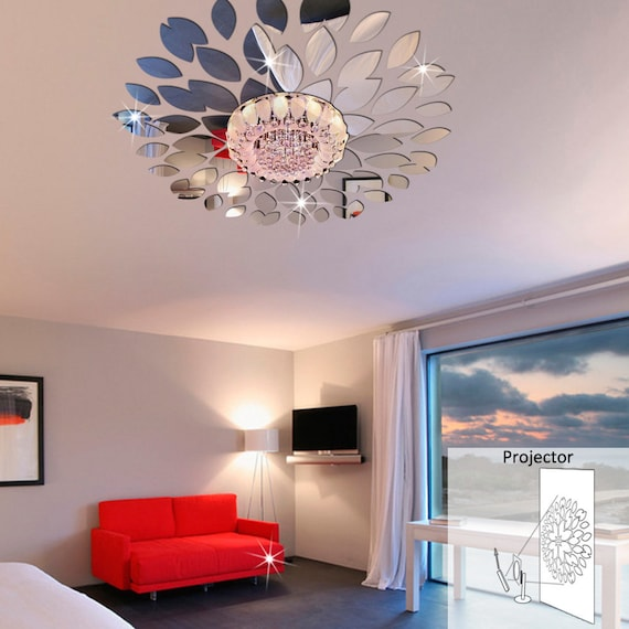Round Petals Ceiling Decor Crystal Diy Mirror Effect 3d Wall Stickers Acrylic Mirrored Decorative Sticker Wall Decoration Mirror Wall Decor