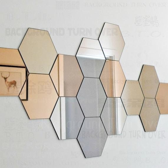 7 Hexagon Mirrors Wall Decor Stickers 3D Acrylic Mirrored ...