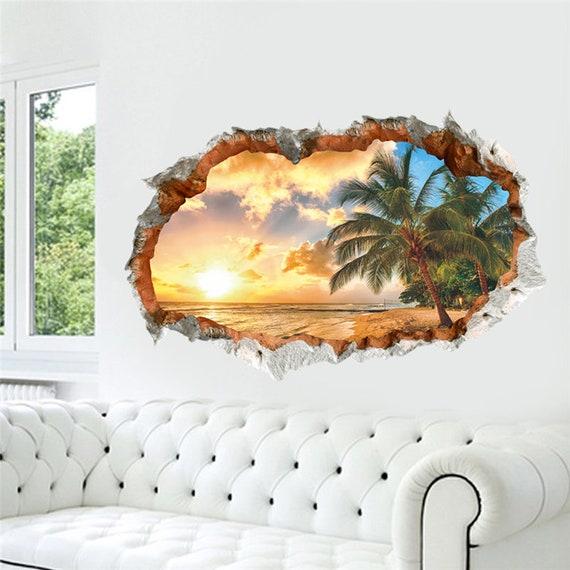 3d depth illusion vinyl wall decal sticker 60x90cm beach | etsy