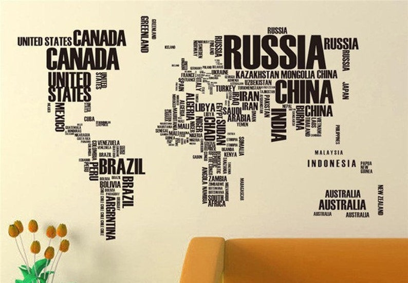 Large size World Map Wall Art Vinyl Decal Stickers Home Decor Removable Mural AU