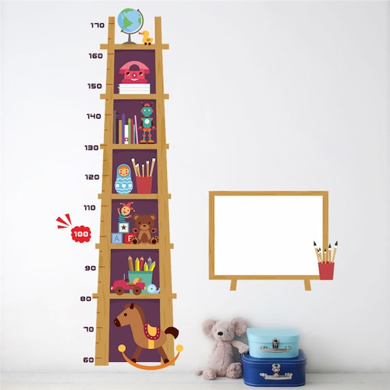 Dinosaur Wall Decor Airror Baby Growth Height Chart Canvas and Wood Composed of Removable Wall Ruler Child Height Ruler