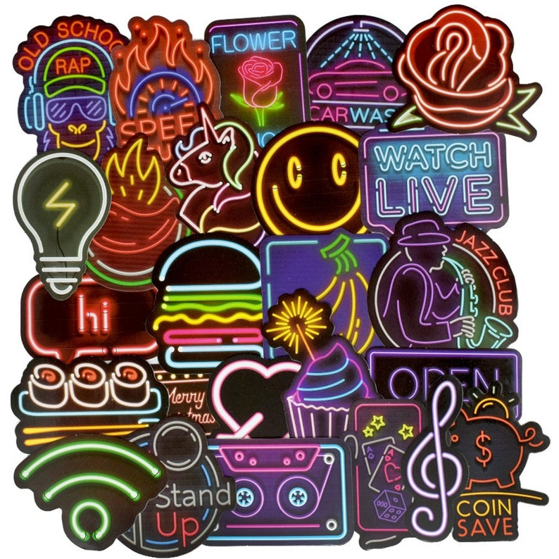 50 PCS Neon Light Sticker Anime Icon Animal Cute Decals Stickers for Children