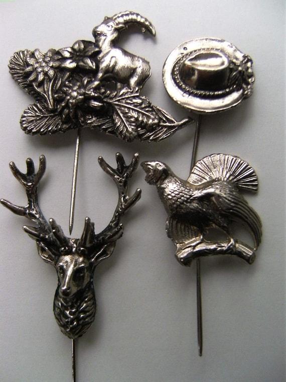 Vintage hunter pin badge lot of 4 pin badge