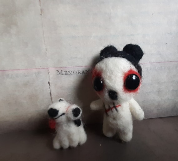 zombie creepy cute miniature gothic horror Halloween art doll toy needle felted weird gift quirky odd fantasy girlfriend boyfriend