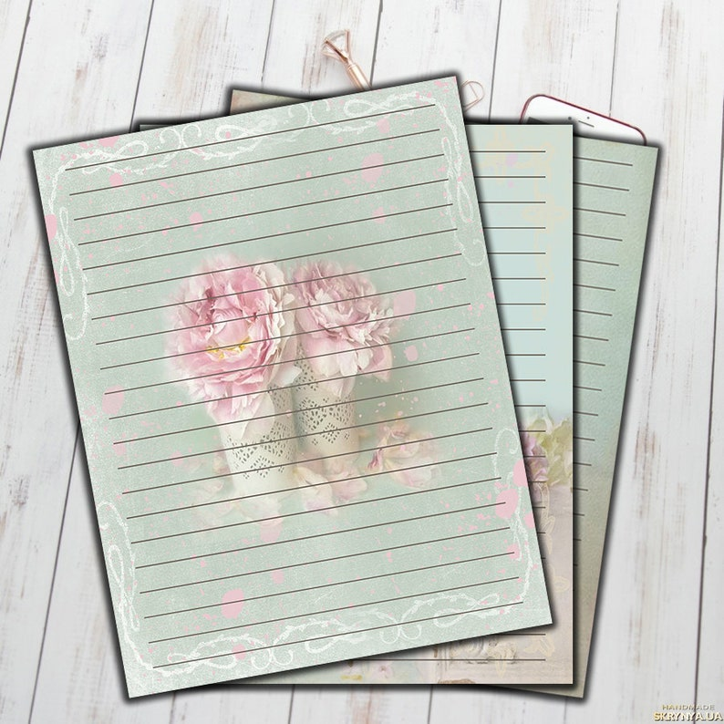 photograph about Printable Lined Paper known as Floral Included Stationary Fixed of 3 Printable covered paper peony Letter Paper Letter Stationary Fixed, Bullet Magazine Printable, Magazine Webpages