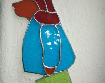 Stained glass Paddington Bear