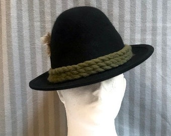 1ea659e057b Fedora Felt Dirndl Men s Hat Austrian Bavarian Tyrolean Alpine Tirolean  Mountain Oktoberfest Black Cap Hut Wool Trachten Hat with Cord