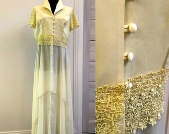 0d493a7a4e 90s Vintage Prom Dress Retro Party Long Bright Yellow Lace Dress  Transparent Evening Cocktail Dress Size XXL