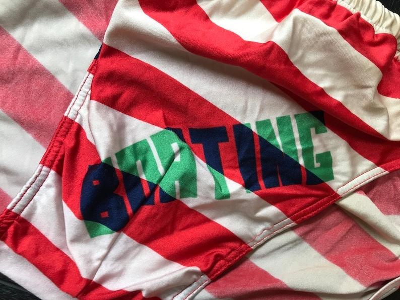 426bf3d63fd23 Vintage 80s Men Swim Trunks Striped Red Beige Swimtrunks Mens | Etsy