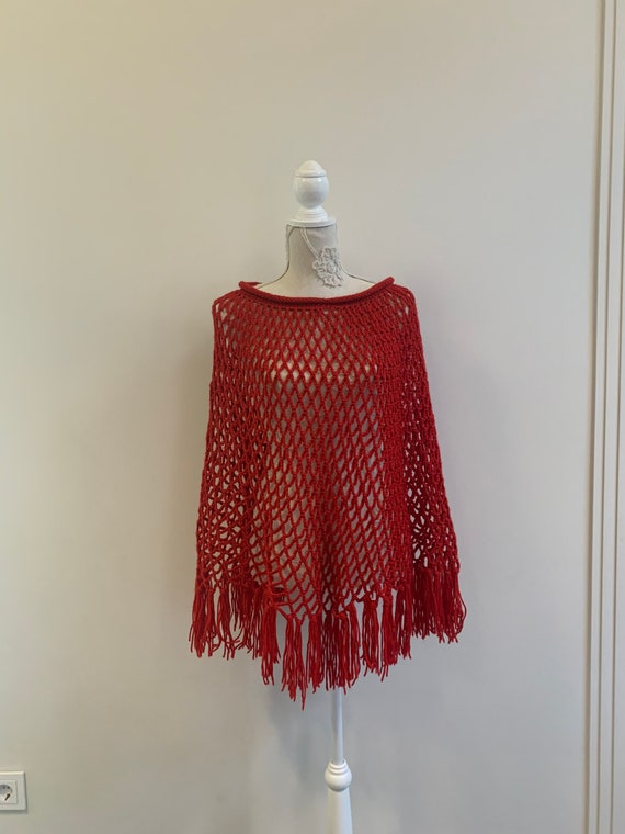 Vintage Blue and Red Crochet Knitted Poncho Shawl with Drawstring Free Size from Portugal