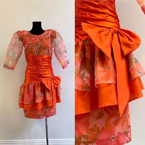 80s Vintage Prom Dress Retro Party Orange Bow Puff