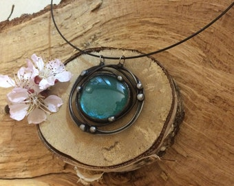 Blue, Wire Round, Pendant, Handmade Jewerly, Necklace