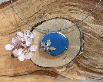 Blue, Flower, Pendant, Handmade Jewerly, Necklace
