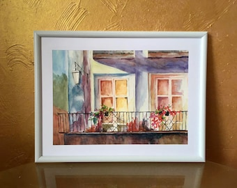 Romantic balcony watercolor