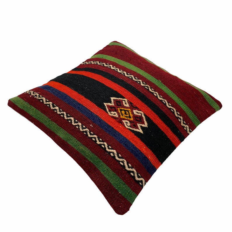 Kilim Pillow 40 x 40 cm Tapis Kelim Kilim Pillow Cover Meditation Bench Kelim Teppich Boho Kilim Cushion Kilim Sofa Turkish Pillow