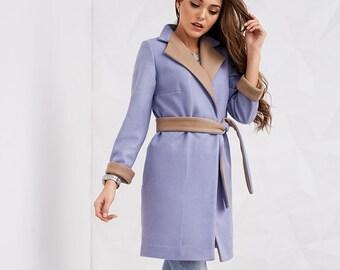 Purple Coat, Womens Coat, Coat for autmn, Spring coat, Wool coat, Ladies coat, Long sleeve coat, Belted coat, Warm coat, Symmetrical coat