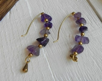 Amethyst Boho Earrings. Dangle Bohemian Earrings. Gemstone Minimalist Brass Wire Wrapped Jewelry. Dainty Fairy Gypsy Tribal Ethnic Purple