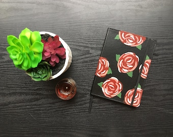 Hand painted red floral notebook