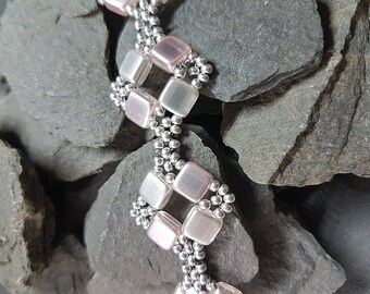 Light Pink and Silver Coloured Glass Squares Bracelet