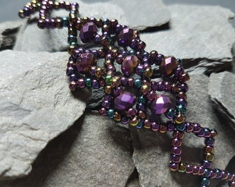 Purple Crystal and Multi Seed Bead Offset Squares Bracelet