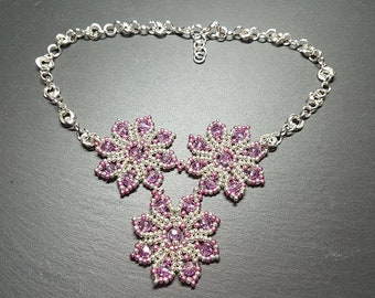 Pink, Silver Seed Bead and Pink Crystal Necklace with Mobius Chain