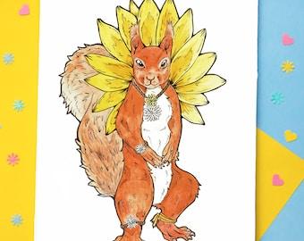 Red Squirrel Animal Print | Boho Animal Art | Wall Art | Cute Squirrel