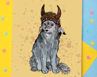 Wolf Art Print | Animal Print | Boho Animal Art | Wall Art | Cute Animal