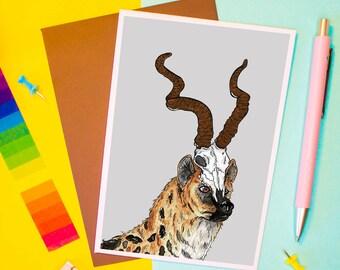 Hyena King Card   Birthday Card   Animal Card