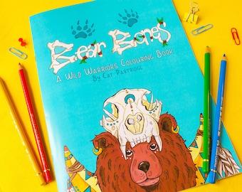 Bear Bones - Animal Colouring Book | A4 Colouring Book | Animal Illustrations