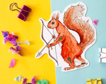 Red Squirrel Warrior Glossy Vinyl Sticker Decal | Cute Animal Sticker | for notebooks  laptops, phone cases, iPad cases
