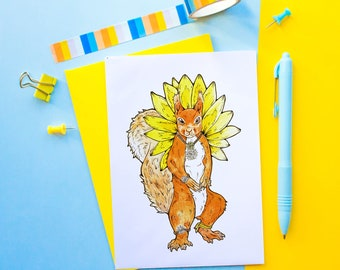 Sunflower Squirrel Card | Animal Card | Flower Card | Card for Sister, Mother