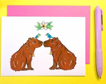 Capybara Love Card for husband, wife, girlfriend, boyfriend, partner