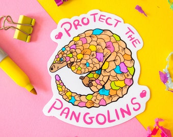 The Pastel Pangolin Conservation Vinyl Sticker Decal for laptops | notebook | phone case | iPad case