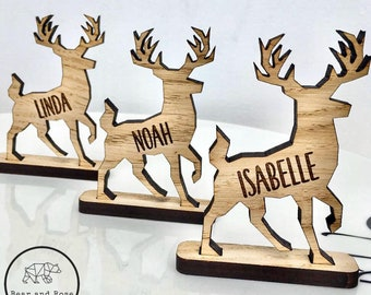 Christmas Personalised 2021 Reindeer decorations Stag Place Names