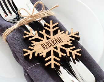 Christmas Personalised Snowflake Place Names Decorations