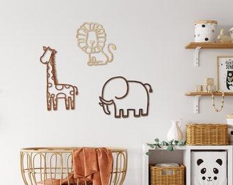 Safari Trio Wall Decor Home - Nursery / Kids / Animals / Children Room