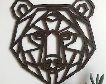 6d726ba6e5 Geometric Bear Head - Wooden Wall Art - Home Nursery