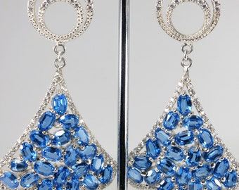Vintage Hand-Made Blue Topaz Cz Real 925 Sterling Silver Earrings ( White Gold Coating )