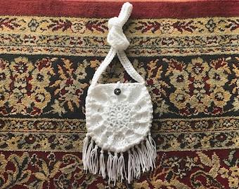 Crisp White Mini Crochet Crossbody