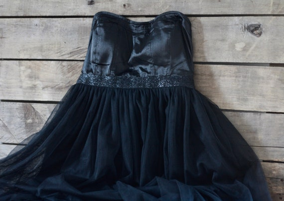 French black cocktail tulle dress Cockdress Tulle