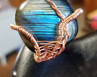 Copper Wrapped Labradorite Thumb Ring
