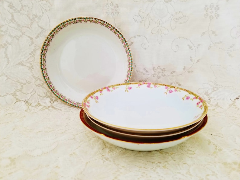 Mismatched China Fabulous Vintage Floral French Country Pasta Soup Salad Bowls Cottage Chic English Garden Wedding Garden Party Baby Shower