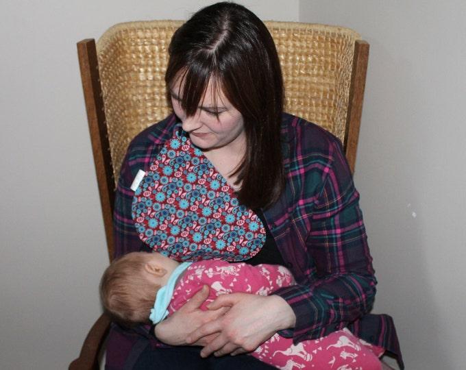 Breastfeeding/nursing cover, baby shower, gift idea - Maroon Flower