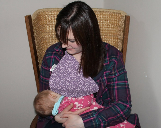 Breastfeeding/nursing cover, baby shower, gift idea - Purple flower