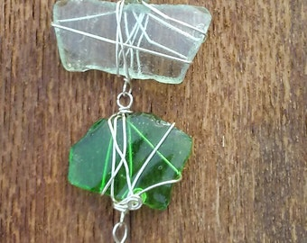 Lake Huron 3 Piece Beach Glass Pendant on Fuax Leather Necklace
