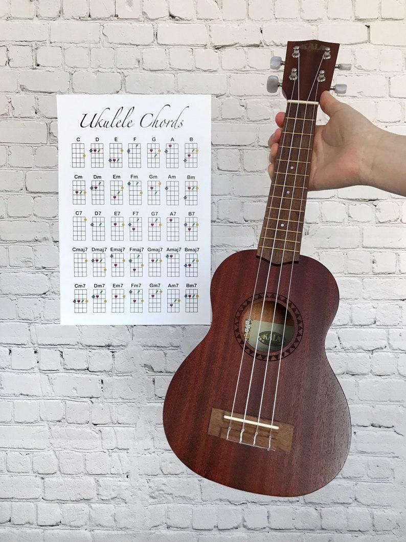 Ukulele Chord Chart - Digital Download Artwork - Stylized Ukulele Chords -  Wall Art - Room Decor - Reference Sheet - By Grace and Gloria Co