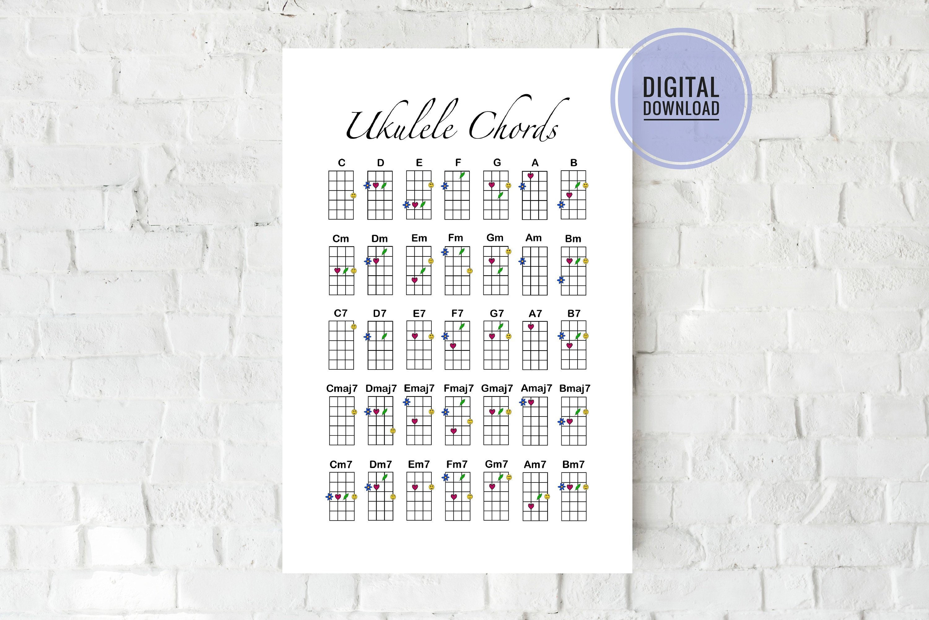 Ukulele Chord Chart - Digital Download Artwork - Stylized Ukulele Chords -  Wall Art - Room Decor - Reference Sheet - By Grace and Gloria Co